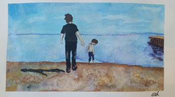 Walsh Boys in Water. 9x12. June 2016 (Not available)