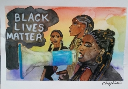 """""""Black Lives Matter at Pride Toronto and Everywhere"""". 9x12. July 2016."""