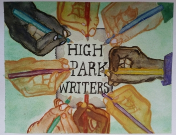 """""""High Park Writers"""". 9x12. July 2016."""