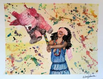 """""""Piñata"""". 10x14. September 2016."""