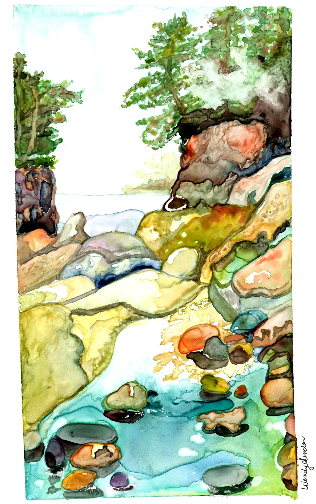 Original watercolour painting of Secret Bay, located in Georgian Bay, Ontario Canada. Cliffs, rocks, water and trees.
