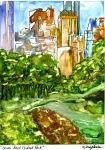 Original watercolour painting on Yupo paper of New York City's Central Park facing South East. There are tall buildings beyond the grass and trees of the park.