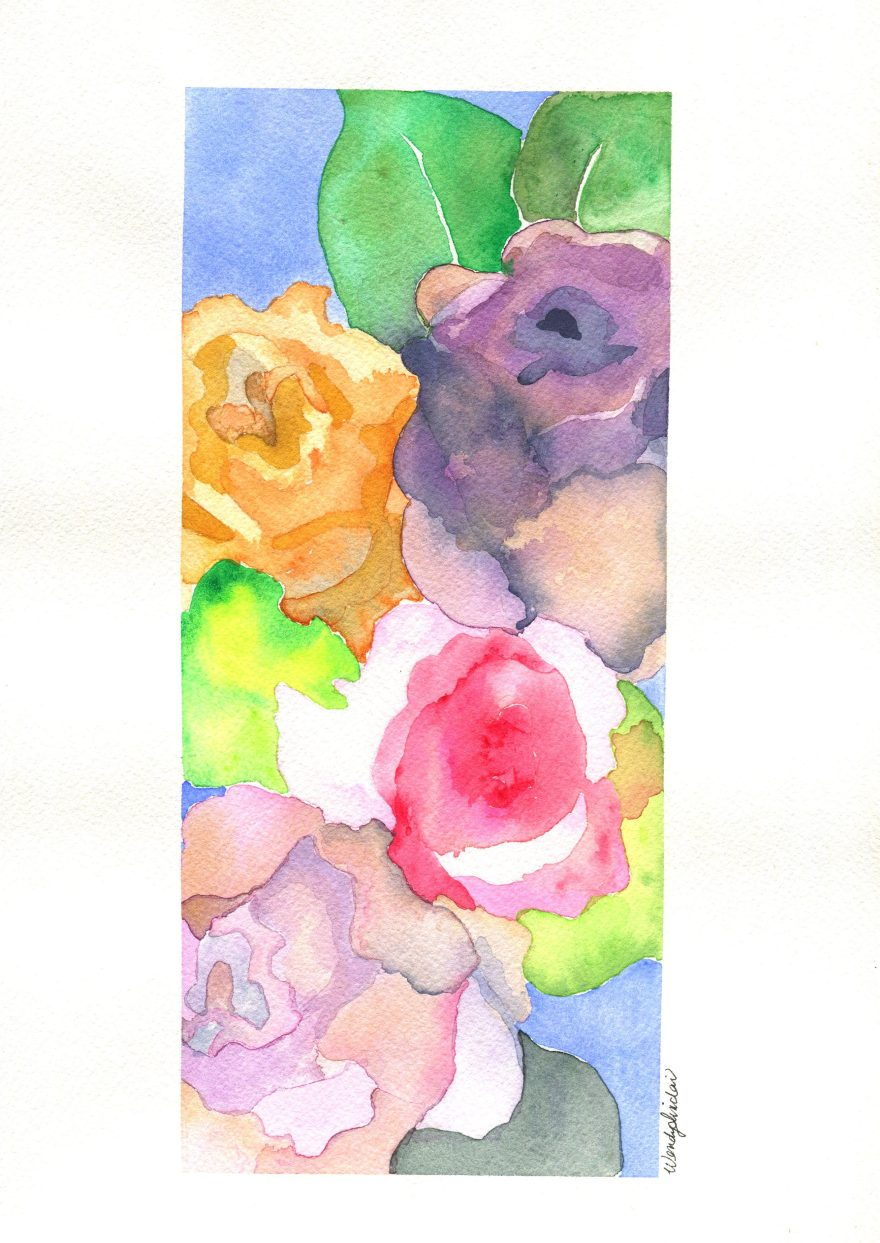 Original watercolour painting of a bouquet of Mother's Day flowers by Wendy Sinclair, Toronto artist.